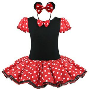 Kids Girls Dress Halloween Polka Dots Tutu Cosplay Party Costume Headband Set