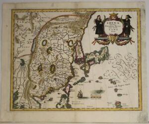 CHINA KOREA & JAPAN 1646  MATTHÄUS MERIAN UNUSUAL ANTIQUE COPPER ENGRAVED MAP