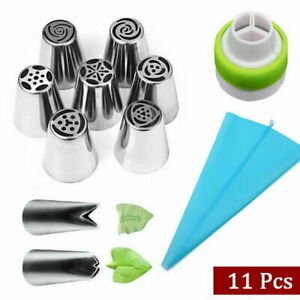 11Piece set Russian Leaf Flower Icing Piping Nozzle Tips Cake Topper Baking Kit