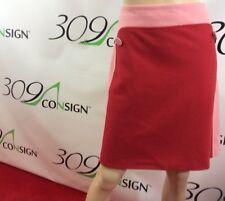New Boden Women's 8 L Long Medium Red Pink Color Block Wool Blend Skirt M