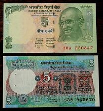 Malhotra Signature UNC India Old 5 Rupees Banknote 00A First Prefix