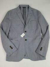 BESPOKEN MENS COBALT LIGHT BLUE LINEN VIRGIN WOOL PATCH BLAZER SM NWT $590