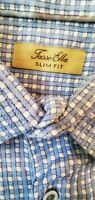 Tasso Elba Mens Button Front Dress Shirt Slim Fit Long Sleeve  blue Checks Large