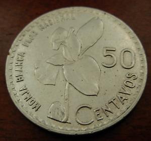 Guatemala 1962 Silver 50 Centavos UNC