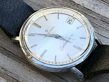 """Vtg Eterna Matic Centenaire """"61"""" Stainless Steel Watch Serviced Runs 35mm"""