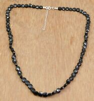 Solid 925 Sterling Silver Black Onyx Beads Handmade Gift Party Wear Necklace
