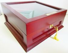 """PCS Stamps Coin Display Case w Key, First & Last U.S. Coins 12"""" x 12"""" Wood Glass"""