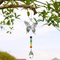 Window Rainbow Handmade Butterfly Hanging Suncatcher Crystal Prism Ball