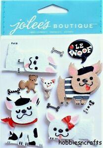 FRENCH BULLDOGS Jolee's Boutique 3-D Gemstone Stickers - Felt Dogs Bones