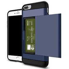 Shockproof Wallet Credit Card Pocket Holder Case Cover For iPhone 6 6s Navy Blue