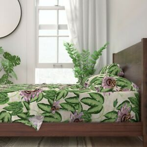 Flower Floral Botanical Passion 100% Cotton Sateen Sheet Set by Spoonflower