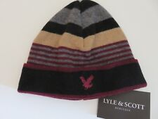 Lyle & Scott beanie hat boys age 6-10 yrs burgundy black beige grey NEW wool