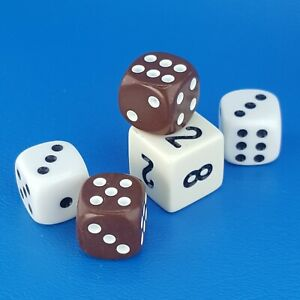 Backgammon Dice Doubling Cube White Brown Ivory Replacement Game Piece
