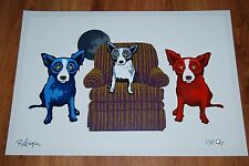 George Rodrigue Blue Dog Sitting With My Sisters White Silkscreen Print Signed