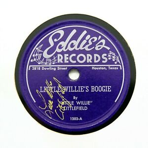 LITTLE WILLIE LITTLEFIELD on 1948 EDDIE'S RECORDS 1202; Autographed! [BLUES 78]