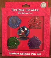 FOUR PARKS ONE WORLD LIMITED EDITION PIN SET - WALT DISNEY 2008 - LE/500 NIB