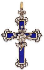 2.50cts Rose Cut Diamond Blue Enamel Victorian Look 925 Silver Cross Pendant