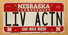 """NEBRASKA CORNHUSKERS UNIV BIG RED VANITY LICENSE PLATE """" LIV ACTN """" LIVE ACTION"""