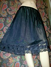 Vintage Plus Size Black Nylon Lacy A-line Half Slip Xl+