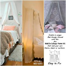 Bed Canopy Coronet Kit Curved Wall Fix Frame for ALL bed sizes Adults, Kids