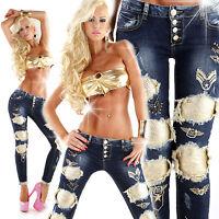Women's Clubbing Jeans Top Ladies Party Denim Trouser Army Sexy Pants Size 6 34