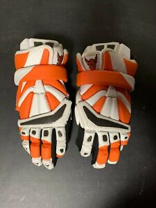 "Used 13"" Brine Lacrosse Powell Exodus II Custom Orange/White Gloves with Cuff"