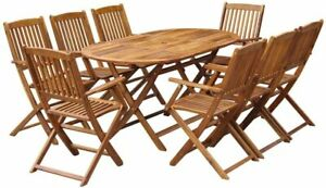 Tidyard 9 Piece Outdoor Dining Set Chairs Stand and Table for Garden Patio Camps