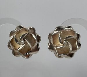 Taxco Mexico 925 Sterling Silver Rose Clip On Earrings
