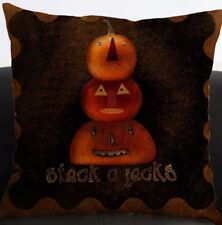"Halloween Pumpkins Pillow Cover Stack O Jacks Black 18"" x 18"" Quick Home Decor"