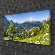 Leinwand-Bilder 100x50 Wandbild Canvas Kunstdruck Gebirge Felder Natur