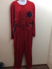 Ugly Christmas Romper Womens Size Medium Jumpsuit Red Velour Sk & Co Holiday