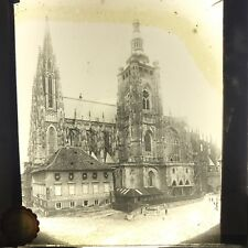 Vtg Magic Lantern Glass Slide Photo Large Gothic Church Praka Prague Czech