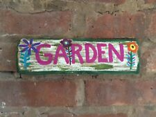 Weathered Reclaimed Wood Rustic Hand Painted  Garden Sign One of a kind