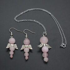 Rose Quartz Beads Pendant Necklace Earrings Angel Wings Set -Healing Love Caring