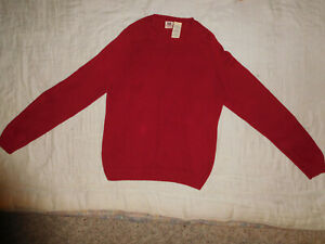 Faded Glory Mens Sweater Small Red Knit Crew Neck Pullover Ribbed Bottom Cotton