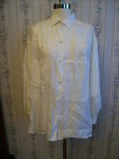 LOVELY Vintage WHITE ON WHITE Embroidered & Cut Work 100% PURE SILK BLOUSE Sz L