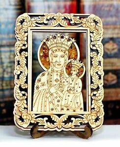 Kühlschrankmagnet Heilige Mutter Gottes - Souvenir - echter Bernstein- Glaube