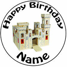 "Personalised Birthday Toy Castle Icing Cake Topper Round Easy Pre-cut 8"" (20cm)"