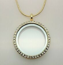 30MM GOLD LIVING MEMORY CRYSTAL LOCKET PENDANT NECKLACE FOR FLOATING CHARMS