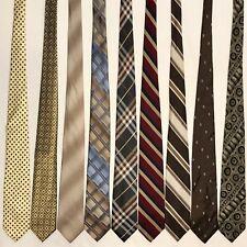 """9 Men's Ties ALL 3.25"""" Skinny Slim Retro Vtg Brown Gold Yellow Tan Tie Lot"""