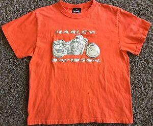 RARE  HARLEY DAVIDSON ORANGE T-SHIRT MADE BY HARLEY DAVIDSON SIZE MEDIUM 12 / 14