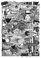 A5 Micro Size EURO Style BLACK & WHITE Vinyl Sticker Bomb Sheet R/C Drift Car