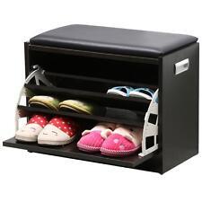 MDF Shoe Bench Stand Unit Drawer Seat Storage Rack Multipurpose Cabinet Black