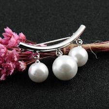 Pin Brooch Sweater Cardigan Clip Jewelry Women Silver Pearl Fixed Strap Safety