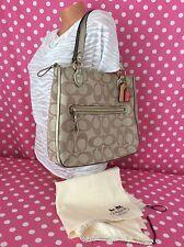 Coach Poppy Metallic Hallie Tote Large Handbag Bag Signature C Khaki Pink 22455