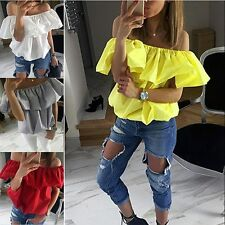 UK Womens Off Shoulder Frill Ruffle Gypsy Shirred Casual Tops Short Shirt Blouse