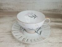 Beautiful Vintage Enesco Imports Porcelain Tea Cup & Saucer Gold Trim Japan