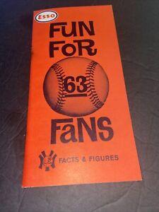 1963 ESSO OIL NEW YORK YANKEES SHARP BASEBALL FACT BOOK~MICKEY MANTLE~BABE RUTH+