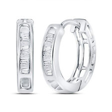 10k White Gold Womens Baguette Diamond Huggie Hoop Earrings 1/6-Carat tw