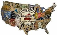 """BUSTED KNUCKLE GARAGE NATIONWIDE MAP 35"""" WIDE HEAVY DUTY USA MADE METAL ADV SIGN"""